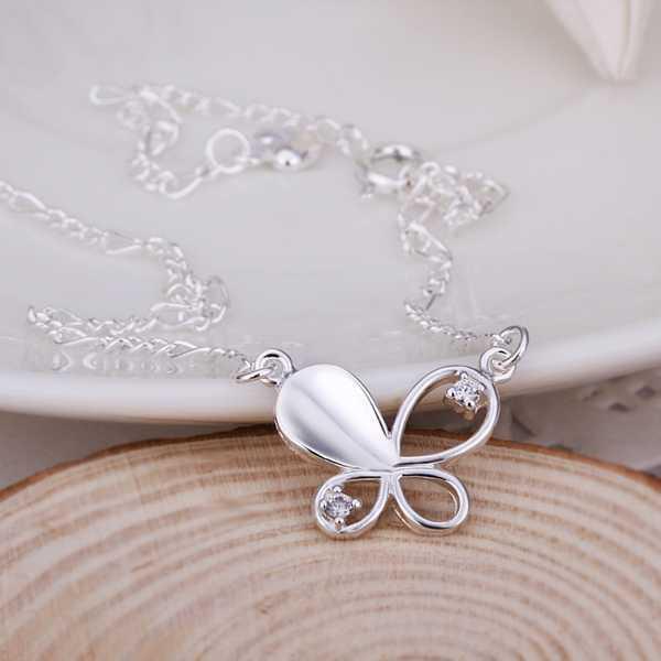 ¡Nueva llegada !! Tobilleras de plata esterlina 925 al por mayor, joyería de plata de la manera 925, tobilleras de la mariposa del embutido Envío libre.21