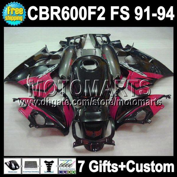 &7gifts F2 For HONDA CBR600F2 1991 1994 91 92 93 94 CBR 600 1991-1994 Pink black grey 1992 1993 MT41907 CBR600 F2 CBR 600F2 full Fairing