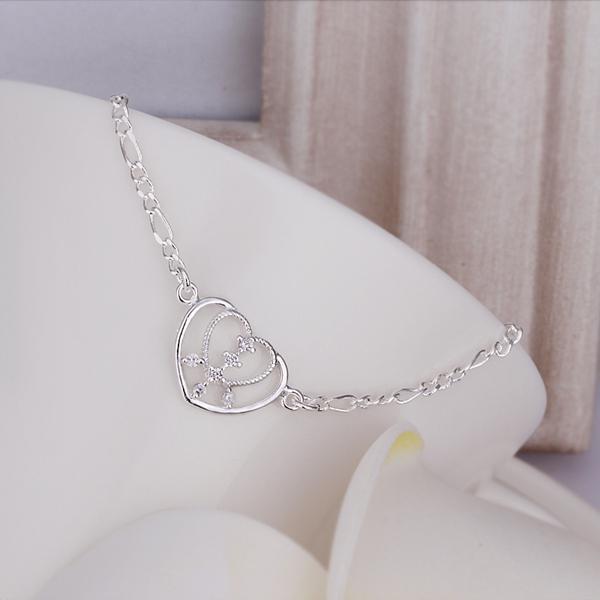 ¡Nueva llegada !! Tobilleras de plata al por mayor de la plata esterlina 925, joyería de plata de la manera 925, tobilleras incrustadas del corazón de piedra Envío libre17