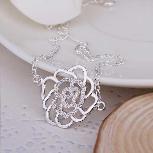 New Arrival!!Wholesale Sterling 925 Silver Anklets,925 Silver Fashion Jewelry,Inlaid Stone Flower Anklets .27