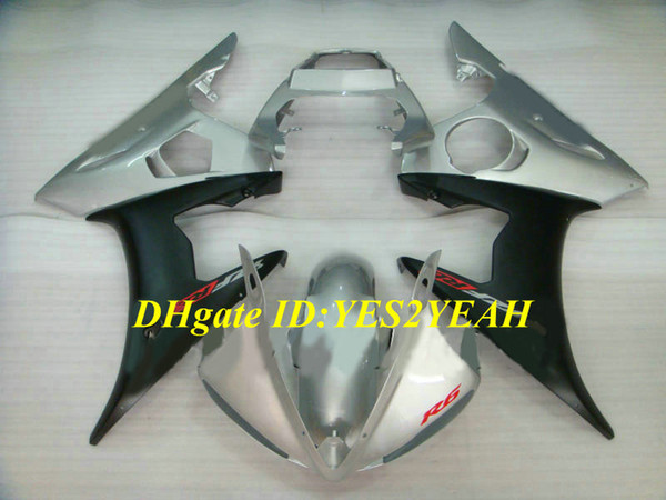 Motorcycle Fairing kit for YAMAHA YZFR6 03 04 05 YZF R6 2003 2004 2005 YZF600 ABS Silver black Fairings set+Gifts YN08