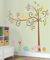 Wholesale owl stickers for nursery - Free Shipping Large Cute Tree Cartoon Wall Decals Sticker, Owls Wall Stickers for Children, DIY Nursery Wall Decals Stickers