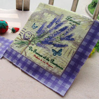 Serviettes En Papier Pas Cher-33 * 33cm Papier d'impression Lavender Napkin Throwaway bois Party Supplies Serviettes 100pcs / lot SD150