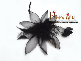Wholesale Hat Hair Brooch - 5.11'' 12pcs lot Free Shipping Fashion Feather Net Flower Brooch, Hen Party Mini Top Hat Hair Fascinator Hair clips