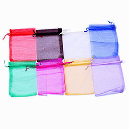 Wholesale Gauze Jewelry Bags - 500pcs Solid Color Sheer Organza Wedding Candy Bag Gauze Wedding Gift Bag XKO1 Drawstring Jewelry Packaging Christmas Gift Pouch 10*15cm