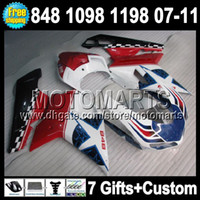 7gifts Free customized For DUCATI Red white 1098S 1198S 848 ...