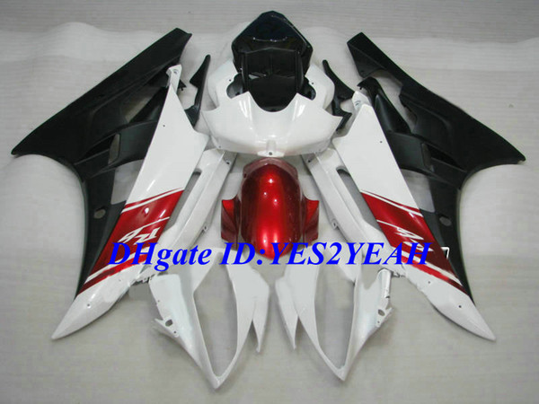 Custom Injection mold Fairing kit for YAMAHA YZFR6 06 07 YZF R6 2006 2007 YZF600 Red white black Fairings set+Gifts YQ04