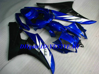 kit de carenado yamaha r6 azul al por mayor-Kit de cuerpo de carenado de inyección para YAMAHA YZFR6 2006 2007 YZF R6 YZF-R6 YZF600 R6 06 07 azul blanco Carenados Carrocería + regalos YQ72