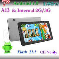 Wholesale A13 Gsm - Cheapest 7 Inch OEM built in 2G GSM Phablet A13 512MB DDR3 4GB Android 4.0 dual camera 800 x 480 Capacitive tablet pc