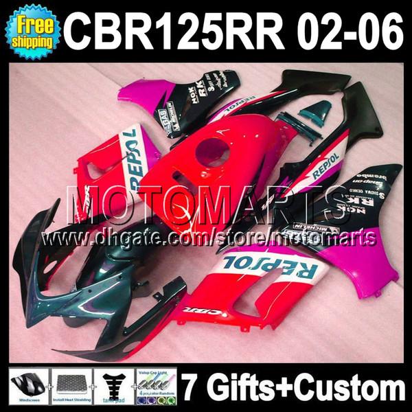 7gifts For HONDA CBR125R 02 03 04 Repsol red 05 06 CBR125RR CBR 125R 125RR MT468 CBR125 R 2002 2003 2004 2005 2006 red black purple Fairing