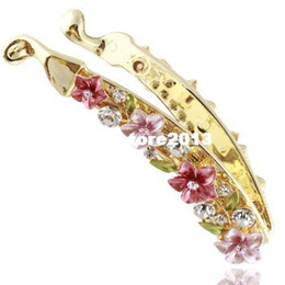 Wholesale Gold Flower Hair Comb - New Hot sale fashion korean style flower banana clip hair combs accessories women rhinestone crystal hair jewelry