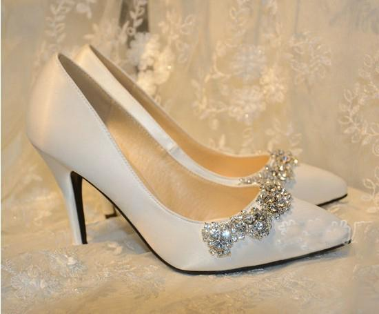 Handmade Wedding Shoes Plus Size Satin Pointed Toe Pumps High Heel Wedding Shoes White Color Rhinestone Bridal Dress Shoes Free Shipp