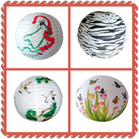 "Wholesale Chinese Paper Lanterns 12 - Chinese Rround Paper Lantern Lamp Multi-size 8""10""12""14""16"" Dia 20-40cm Multi-pattern Covers For wedding, party decoration company Annual"