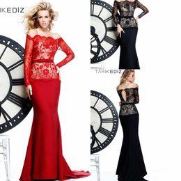 Wholesale Tarik Ediz Black Backless Dress - Charming Amazing Off-Shoulder Long Sleeve Mermaid Lace Sexy Tarik Ediz Evening Dresses With Sash 2014 Hot Prom Party Dress Gowns