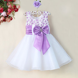 Years girls dressing stYle online shopping - Fashion Baby Girls Flower Dresses Lavender Lace Princess Party Dress Children New Year Kids Wedding Wear Baby Clothes GD31115
