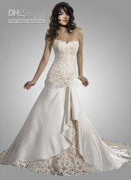 Wholesale Inexpensive Silver Wedding Dresses - inexpensive sexy strapless floor length chapel train lace satin wedding dress MG490