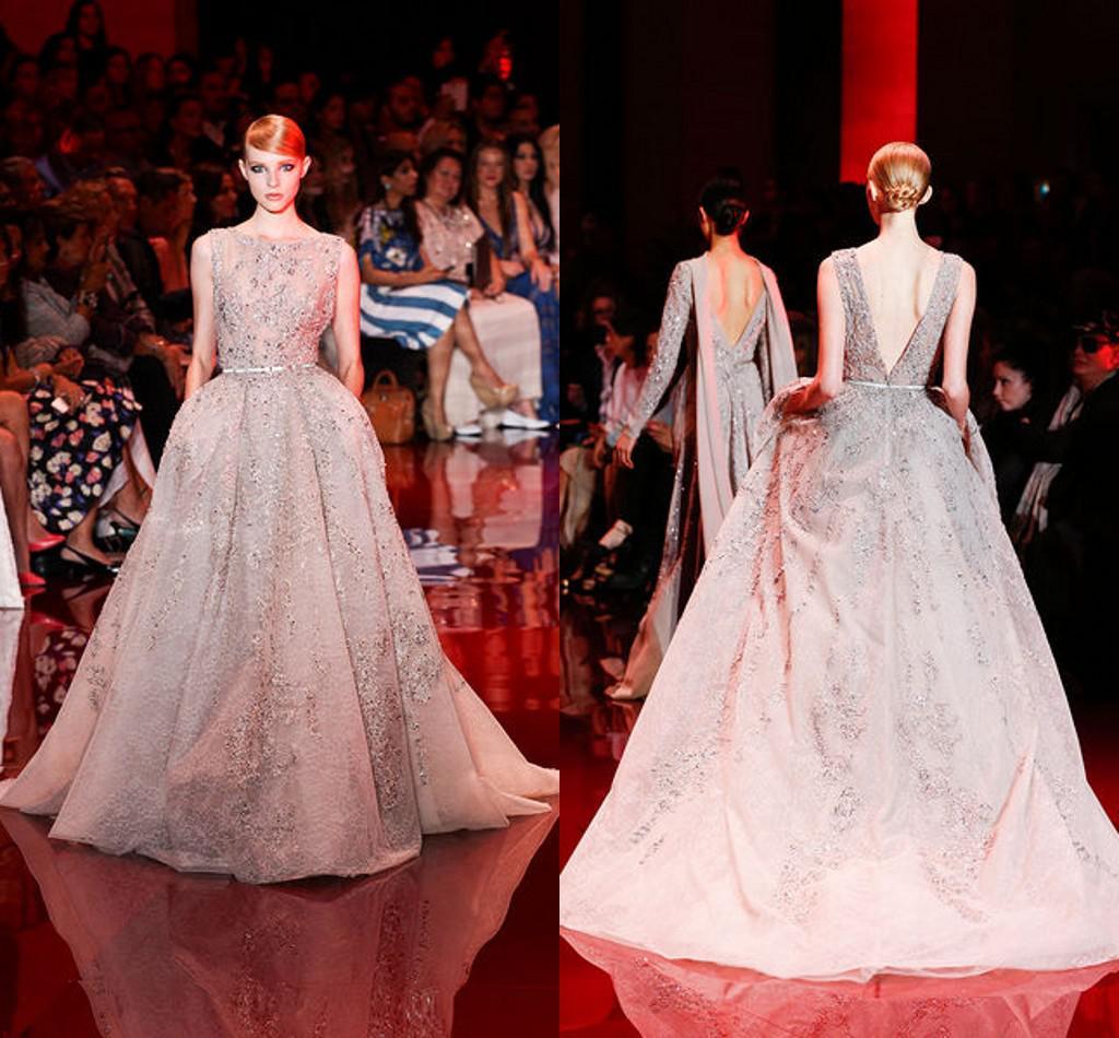 Elie Saab Scoop Strap Open Back A Line Zipper Appliques Crystal Beaded Champagne Prom/Evening Dress Lace Elegant Long Women Dress Luxurious