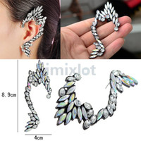 Estilo novo Moda de alta qualidade Crystal Angel Wing Ear Clip Earrings Rhinestone Ear Cuff Earring [JE05027 * 10]