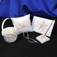 Wholesale Starfish Basket - Beach Starfish Pearl Wedding White Ivory Stain Bearer Ring Pillow Girl Flower Basket Guest Book Golden Pen Set Full Set Decorations Supplier