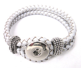 Wholesale Diy Resin Bracelets - Free shipping Noosa silver leather Bracelet DIY Fashion Noosa Jewelry