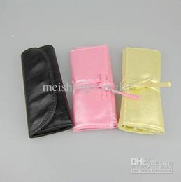 Commercio all'ingrosso - Trucco di nylon di qualità pennello manico in legno nero / giallo / rosa Pu 7 / set 6 / borsa trucco professionale pennelli da spazzole di trucco giallo fornitori