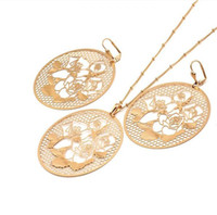 Wholesale China Led Earrings - (177S) Exotic Flavour 18k Gold Filled Pendant Necklace and Earrings Set For Women Lead and Nickel Free