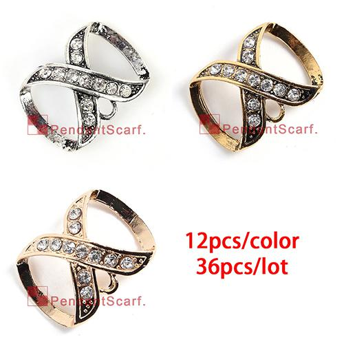 36 UNIDS / LOTE Caliente de La Manera es Mezclado Collar de La Joyería DIY Bufanda Colgante de Aleación Mental Rhinestone Diamante Fianzas, Envío Libre, AC0246MIX