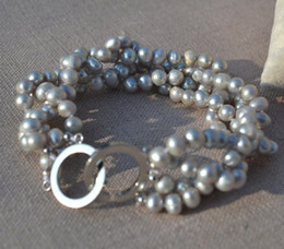 Wholesale Pearl Strands Wedding - Gray Pearl Bracelet,Wedding Pearl Bracelet, 7.5 Inches 4 Rows 6-6.5mm Gray Genuine Freshwater Pearl Bracelet.Lady's Jewelry Free Shipping