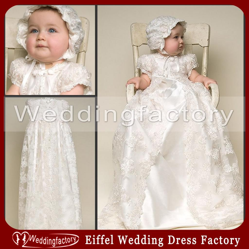 Two In One Vintage Lace Christening Gowns Short Sleeves Ivory White ...