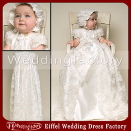 Wholesale Dress Hat Bow - Two in One Vintage Lace Christening Gowns Short Sleeves Ivory White Champagne Long Babies Baptism First Communion Dresses with Free Hat