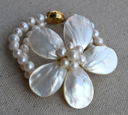 Wholesale White Pearl Strand Freshwater - Flower Bracelet, Shell Flower Bracelet, Freshwater Pearl Bracelet,White Pearl Bracelet, 2 Rows AA 7-8MM Pearl Bracele.New Free Shipping.