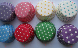Wholesale Dot Liners - new arrival 1000pcs 4.5inch 8colorful mix dots gift cupcake cupcakes liners baking paper cup muffin cases for party