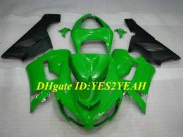 Kits de carenagem zx6r 636 on-line-Kit de molde de injeção para KAWASAKI Ninja ZX6R 636 05 06 ZX 6R 2005 2006 ABS Plástico verde preto Carimbos + Presentes SP08