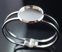 silberne armbänder großhandel-Kostenloser Versand, Sterling Silber 25mmRound Bangle Armband Blank Base Tray Lünette Cabochon Einstellung