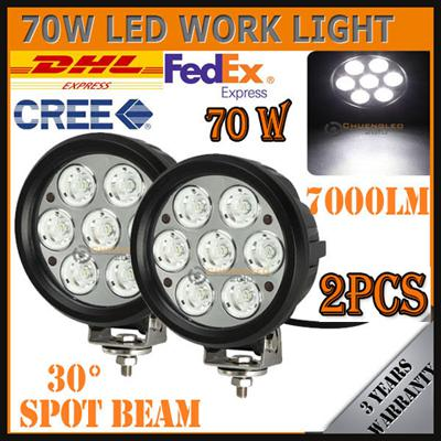 """NEW 6"""" 70W CREE 7LED*10W Working Light Round Spot Driving OffRoad SUV ATV 4WD 4x4 Flood / Combo Beam 9-32V 7000lm JEEP Truck Headlamp"""