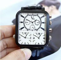 reloj deportivo blanco cuadrado al por mayor-Reloj de cuero negro, blanco, esfera blanca, 3 zonas horarias Cuarzo, cara grande, reloj de pulsera para hombres, de gran tamaño, 3 veces esfera cuadrada, cuero negro, piloto deportivo