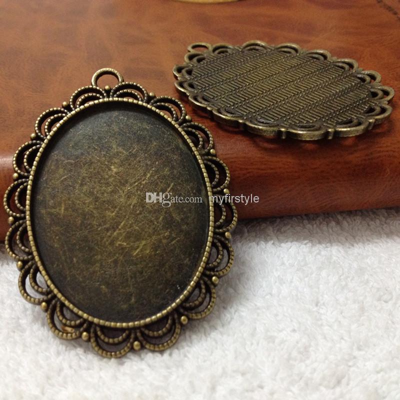 Livraison gratuite 41 * 54 MM de taille intérieure: 30 * 40 mm Antique Bronze plateau vide camée pendentif cabochon, base en alliage camée paramètres intérieurs: 30x40mm