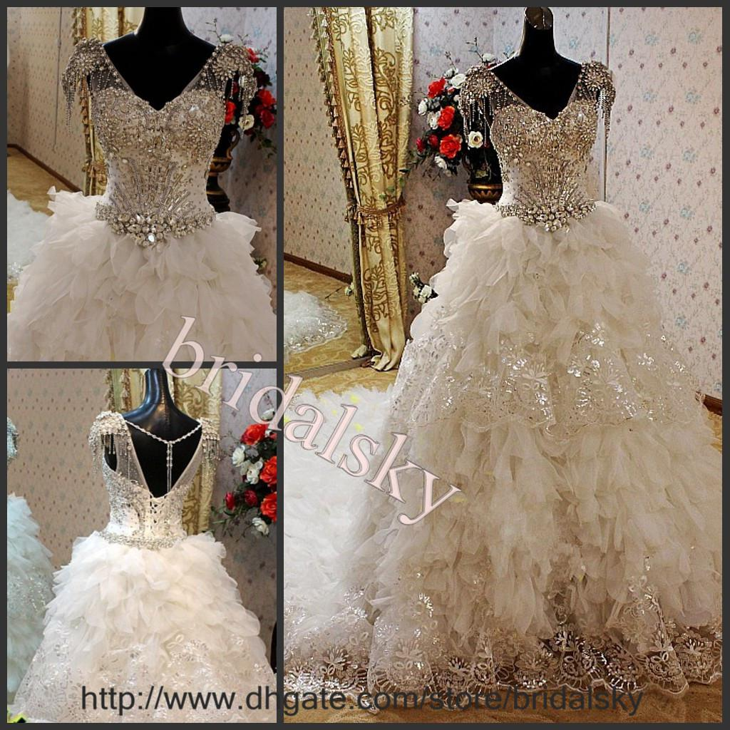 Wedding Gowns With Swarovski Crystals: Discount V Neck Swarovski Crystals Appliques Ruffles Cap
