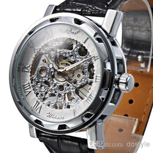 El precio más bajo de los hombres de lujo reloj mecánico mujeres Mecánica Skeleton Gold Sliver reloj de pulsera Ganador hueco de acero inoxidable banda de cuero negro