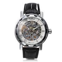 reloj steampunk mecánico negro al por mayor-Hombres de lujo Steampunk Esqueleto Classic Business mano-viento Reloj mecánico ganador Ganador esfera blanca reloj mecánico reloj banda negra correa