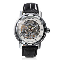 klassische weiße uhr für männer großhandel-Männer Luxus Steampunk Skeleton Classic Business Hand-Wind Mechanische Armbanduhr Gewinner White Dial Mechanische Armbanduhr Black Strap Band