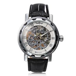 Homens de Luxo Steampunk Esqueleto Clássico de Negócios Mão-vento Mecânica Relógio de Pulso Vencedor Branco Dial Relógio de Pulso Mecânico Preto Strap Banda venda por atacado
