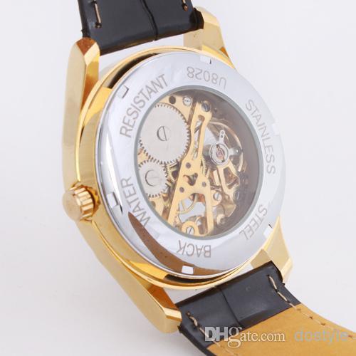 Nueva prueba de agua para mujer para hombre reloj mecánico deportivo reloj de pulsera de cuero negro BandPocket deporte reloj de pulsera regalo Unisex