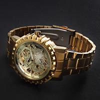 ingrosso polso del drago-Vendita pazzesca nuovo lusso automatico scheletro meccanico orologio da polso da uomo in oro resistente all'acqua resistente al drago d'oro mens orologio da polso