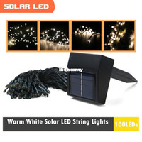 Compra 17m Luci Di Natale Solare-Commercio all'ingrosso - Per Natale stringa solare del LED illumina colore bianco caldo per Party & amp ; Festival & amp ; Decorazioni Wedding Indoor & amp ; 100 LED Outdoor 17m