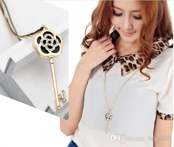 Europe rose key sweater chain, long sweater necklace,18K gold pleated crystal jewelry sets for new 2013 women
