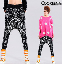 Wholesale Cotton Collapse - New Harajuku style Fashion Pentagram Hexagram Skull Religion Geometry Hip-hop Harem Pants casual hanging crotch Pants Loose Collapse Pants