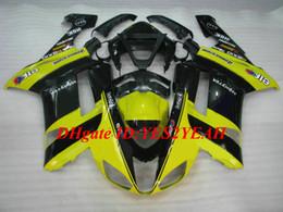 2019 ninja kawasaki carenados amarillo Kit de carenado de motocicleta personalizado para KAWASAKI Ninja ZX6R 636 07 08 ZX 6R 2007 2008 ABS Amarillo negro carenados conjunto + Regalos KB01 ninja kawasaki carenados amarillo baratos