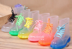 Wholesale Free Shipping PVC Transparent Womens Colorful Crystal Clear Flats Heels Water Shoes Female Rainboot Martin Rain Boots
