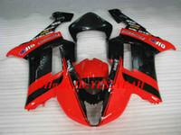 zx6r schwarz rot großhandel-Motorrad Verkleidungssatz für KAWASAKI Ninja ZX6R 636 07 08 ZX 6R 2007 2008 ABS Hot Red schwarz glänzend Verkleidungssatz + Geschenke KB07